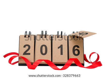 New Year 2016 is coming concept. Happy New Year 2016 replace 2015 concept isolated on white background with copy space for your text. This picture have clipping path for easy to use. - stock photo