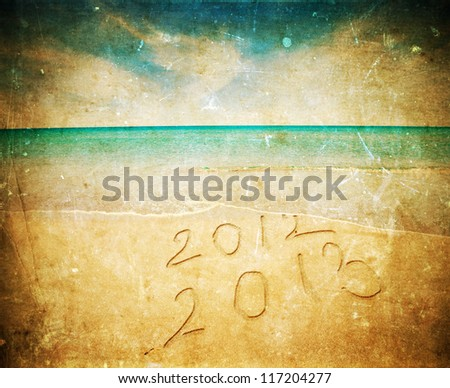 New Year 2013 is coming -vintage photo - stock photo