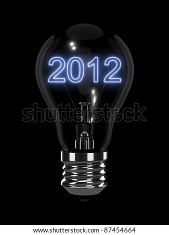 New Year 2012 light bulb - stock photo