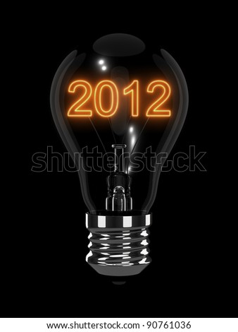 New Year 2012 light bulb. Isolated on the black background - stock photo