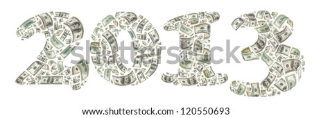 New year. 2013 made by flying 100 dollars banknotes. Isolated on white - stock photo