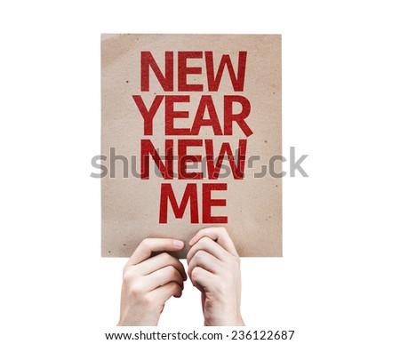 New Year New Me card isolated on white background - stock photo