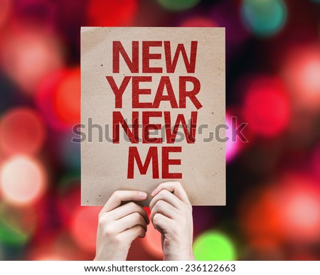 New Year New Me card with colorful background with defocused lights - stock photo
