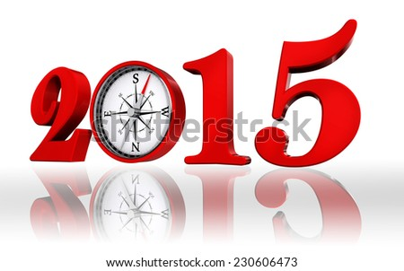 new year 2015 number with compass, on white background - stock photo