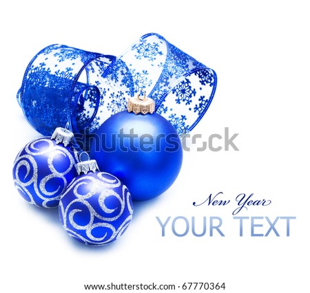 New Year or Christmas Decoration over white - stock photo