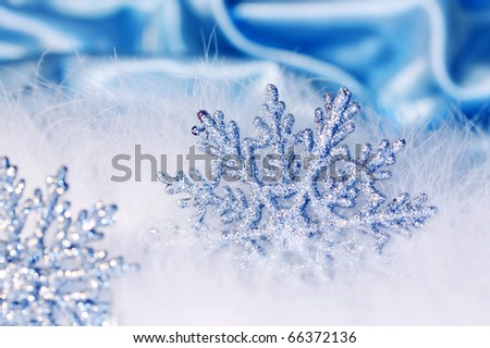 new year or christmas snowflake background - stock photo