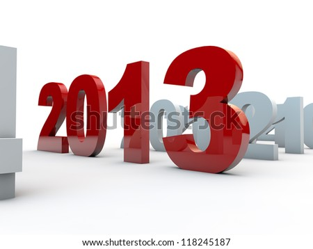 new year 2013 over white background - stock photo