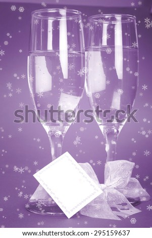 New year party with champagne glasses. Coppy space - stock photo