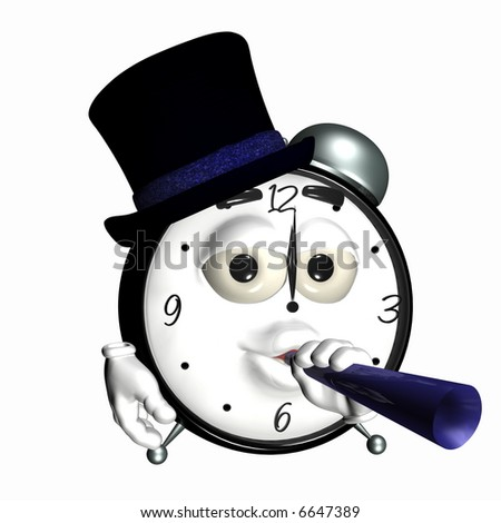 New Year Partying Smiley Clock. A smiley alarm clock with a hat and noise maker. Isolated on a white background - stock photo