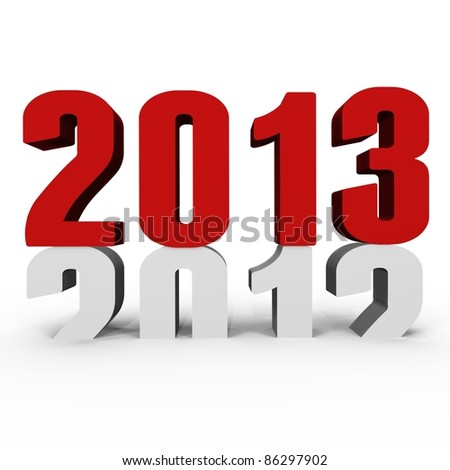 New Year 2013 pushing 2012 down - a 3d image - stock photo