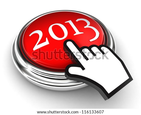 new year red button and cursor hand on white background. clipping paths included - stock photo