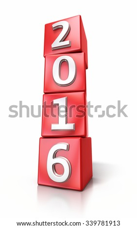 New Year 2016 red cube render isolated on white and clipping path - stock photo