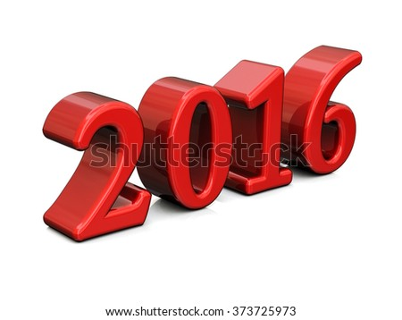 New Year Red 2016 3d Text Isolated on white - stock photo