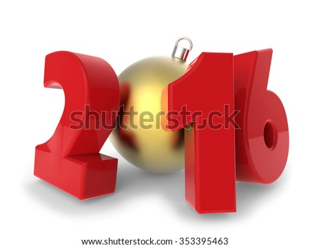 New 2016 year red figures with golden decoration ball isolated on white background. - stock photo