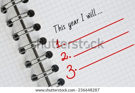 New Year Resolution, Empty list. - stock photo
