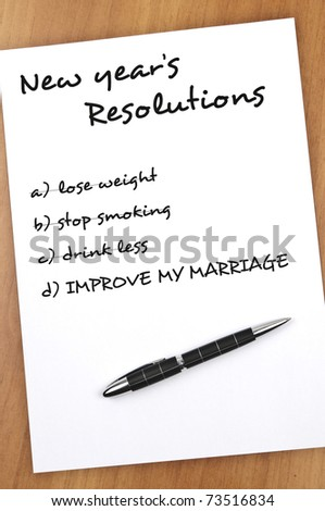 New year resolution with Improve my marriage not completed - stock photo