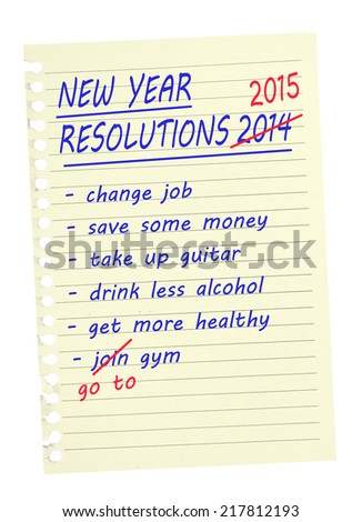 New Year Resolutions 2015 - same again.  - stock photo