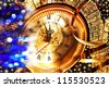 New Year's Eve at five minutes to twelve with old clocks and tinsel - stock photo