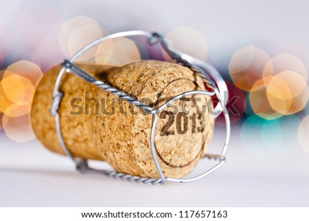 New Year's Eve/Champagne cork new year's 2013 - stock photo
