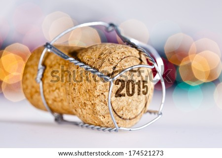 New Year's Eve/Champagne cork new year's 2015 - stock photo