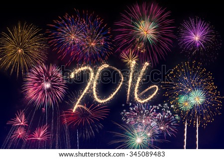 New year's eve fireworks 2016 - stock photo