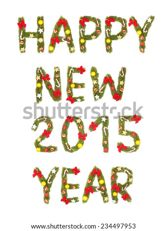 New Year's Eve greeting. Isolated on white background. 2015 - stock photo