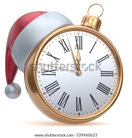 New Year's Eve time alarm clock midnight hour countdown Santa hat Christmas ball decoration bauble ornament golden. Traditional wintertime happy holidays beginning future symbol adornment. 3d render - stock photo