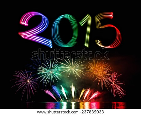 New Year's Eve 2015 with Fireworks - stock photo