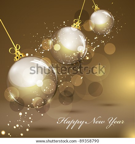 New Year's gold background with gold balls (JPEG version) - stock photo