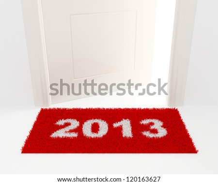New Year's illustration. A rug 2013 and the slightly opened white door. - stock photo