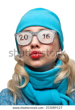 New year's kiss sports the blonde with the inscription on the glasses 2016 - stock photo