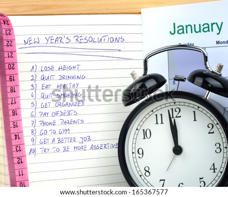 New Year's resolutions with alarm clock and measure - stock photo