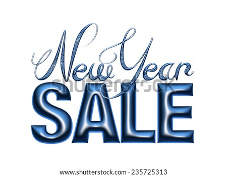 New Year Sale 3d text Design in dark blue on white background - stock photo