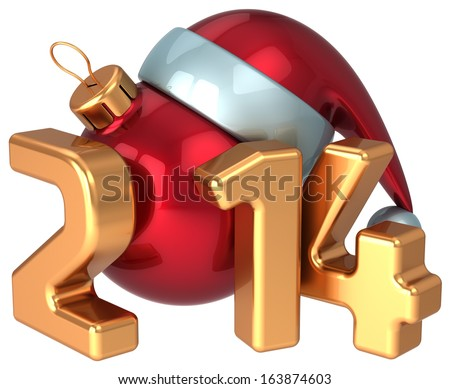 New Year 2014 Santa hat Christmas ball decoration Merry Xmas wintertime happy holidays stylized souvenir. Calendar greeting card design element. Detailed 3d render. Isolated on white background - stock photo