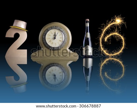 New Year 2016 set up of golden digit two, table clock, bottle of champagne and digit six created from burning sparkler all with mirror reflection effect - stock photo