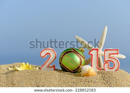 New year 2015 sign with seashells, starfish and christmas ball on a beach sand - stock photo