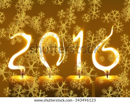New year 2016 - snowflakes - stock photo