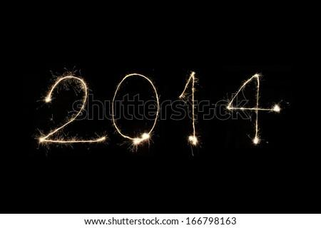 New year 2014 sparklers firework - stock photo