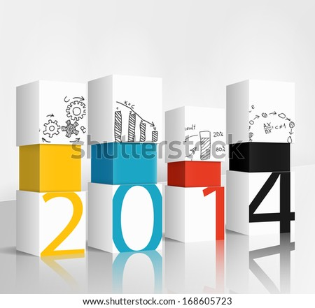 New year 2014 technology concept - stock photo