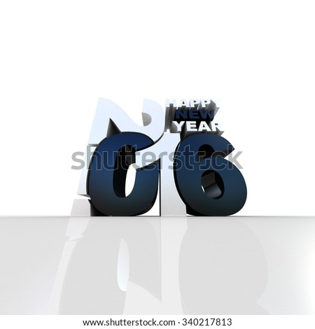 New year 2016 text 3D on white background - stock photo