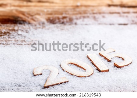New 2015 year text on the snow - stock photo