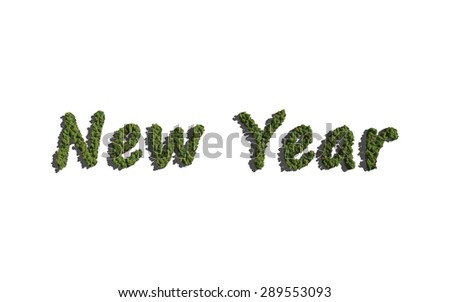 New year text tree with white background concept of typography - stock photo
