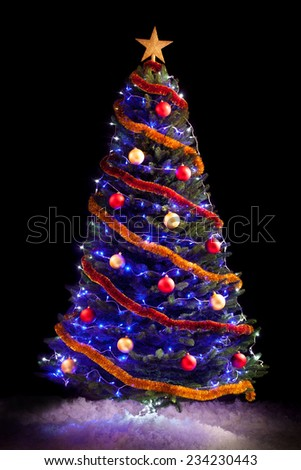 New year tree over black background - stock photo
