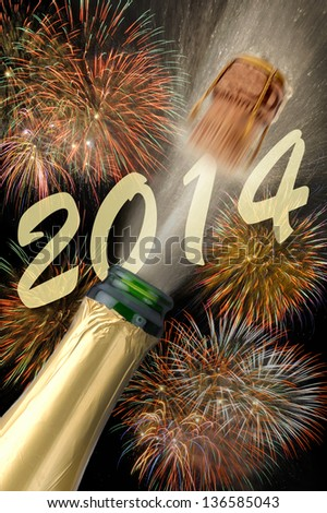 new year 2014 with champagne - stock photo