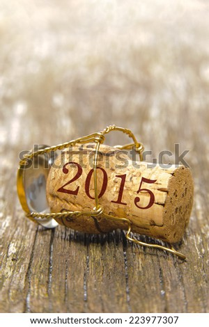 new year 2015 with cork of champagne - stock photo