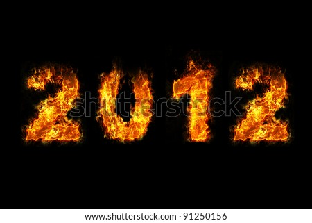 New Year 2012 with fire - stock photo