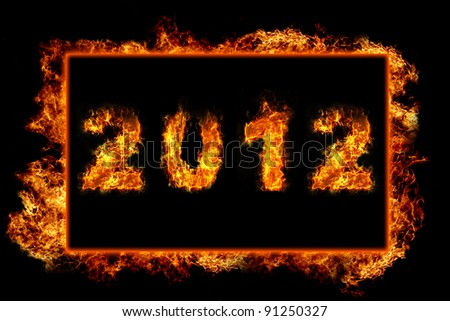 New Year 2012 with fire in burning frame - stock photo