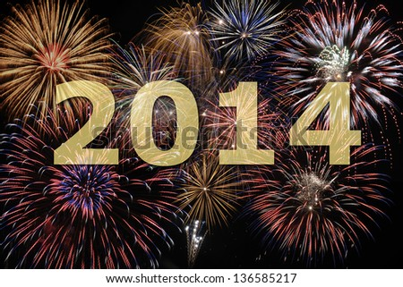new year 2014 with firework - stock photo