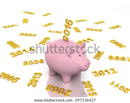 New Year 2016 with Piggy Bank - stock photo
