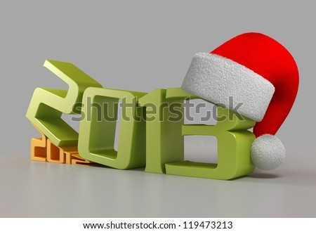 New 2013 Year with santa hat - stock photo